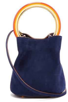 Marni Pannier Suede Bucket Bag - Womens - Navy