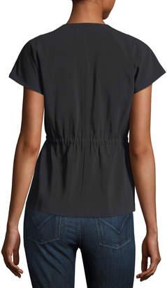 Laundry by Shelli Segal Short-Sleeve Crepe Moto Jacket