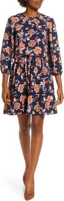 Eliza J Floral Crepe Blouson Dress