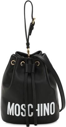 Moschino Logo Printed Leather Bucket Bag