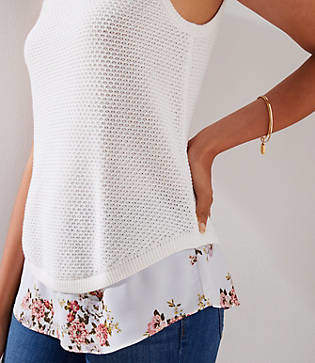 LOFT Floral Mixed Media Sweater Tank