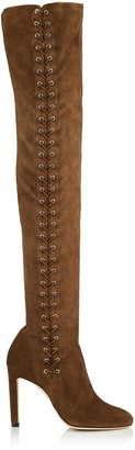 Jimmy Choo MARIE 100 Cedar Suede Over the Knee Boots