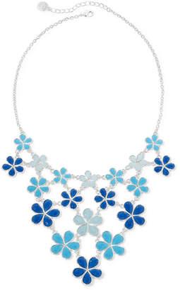 Liz Claiborne Blue Flower Silver-Tone Collar Bib Necklace
