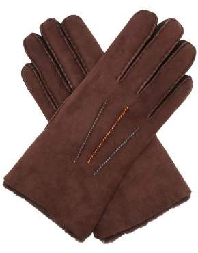 Paul Smith Contrast Stitched Shearling Gloves - Mens - Brown