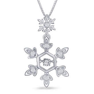 ENCHANTED FINE JEWELRY BY DISNEY Enchanted Disney Fine Jewelry 1/10 C.T. T.W. Diamond Sterling Silver Frozen Snowflake Pendant Necklace