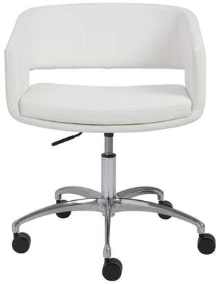 Euro Style Amelia Office Chair in White With Chromed Steel Base