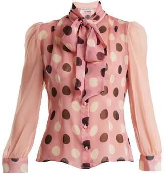 Edeltrud Hofmann - Pussy Bow Polka Dot Silk Blouse - Womens - Pink Print