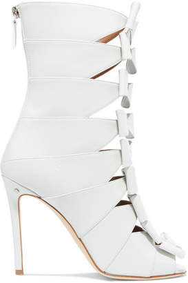 Laurence Dacade Silda Bow-detailed Cutout Creased-leather Ankle Boots - White