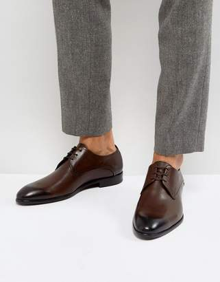 HUGO C-Dresios Burnished Calf Leather Lace Up Derby Shoes in Brown