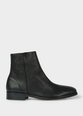 Paul Smith Women's Black Leather 'Brookyln' Boots with 'Artist Stripe' Detail