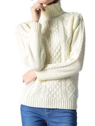 1620bd21c6e49c BIUBIONG Women s Long Sleeve High Neck Cable Knit Pullover Tops Sweater  Jumper