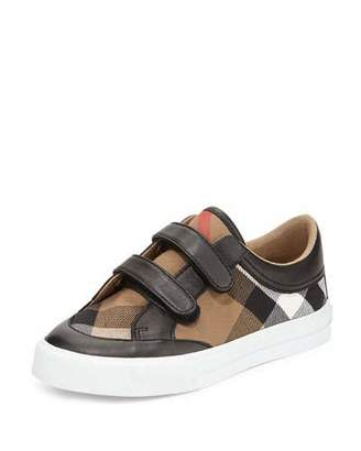 Burberry Heacham Mini Check Leather-Trim Sneaker, Black/Tan, Youth $185 thestylecure.com