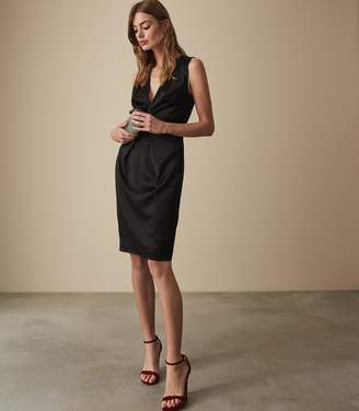 Reiss MOSAIC TWIST FRONT DRESS Black