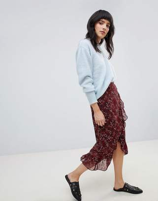 Vero Moda Floral Wrap Midi Skirt