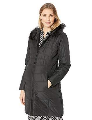Motherhood Maternity Women's Maternity Quilted Puffer Coat with Attached Hood and Faux Fur Trim,Extra