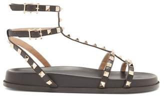 Valentino Submerge Rockstud Leather Sandals - Womens - Black