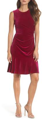 Eliza J Draped Velvet Sheath Dress