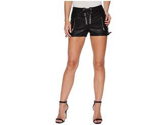 Blank NYC Vegan Leather Hi Rise Lace-Up Shorts in Game On Women's Shorts