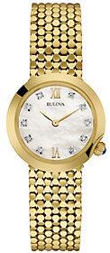 Bulova Ladies' Goldtone Stainless Steel Diamond Accent Watch $298 thestylecure.com