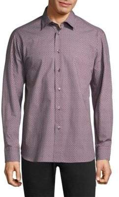 Brioni Geometric Regular-Fit Cotton Button-Down Shirt