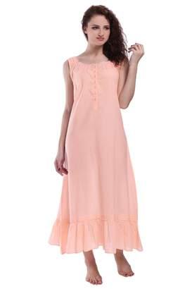 27339b89f6b Miss Lavish Victorian Style Nightgown Sleeveless Long Sleepwear Women  Cotton Plus Size Vintage Nightdress