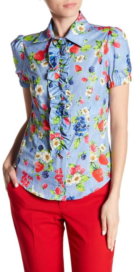 Ruffle Fruit Printed Shirt