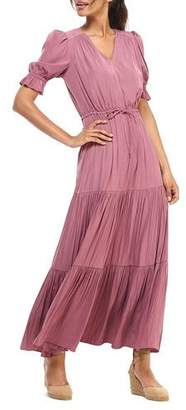Gal Meets Glam Crinkle Sheen V-Neck Short-Sleeve Tiered Maxi Dress