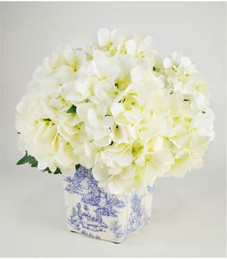 Creative Displays Cream Hydrangeas Displayed In A Cream & Blue Ceramic Vase