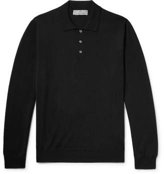 Canali Merino Wool Polo Shirt - Men - Black