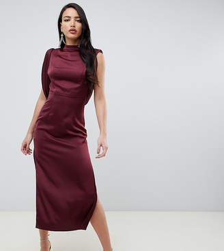 Asos Tall DESIGN Tall satin midi dress with drape armhole and side split