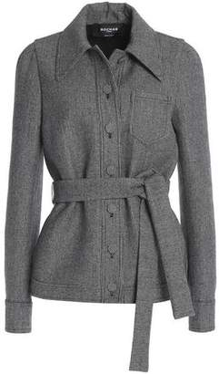 Rochas Belted Houndstooth Wool-Blend Blazer