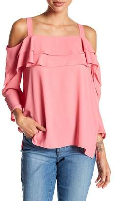 NYDJ Ruffled Cold Shoulder Blouse