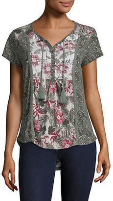 Style&Co. STYLE & CO. Floral Print Tassel Hi-Lo Top