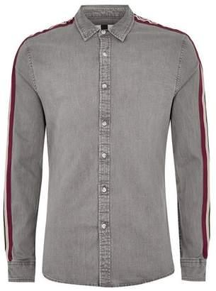 Topman Mens Grey Gray and Burgundy Taping Long Sleeve Denim Shirt