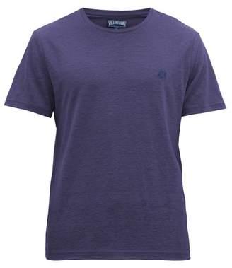Vilebrequin Turtle Embroidered Linen Jersey T Shirt - Mens - Navy