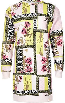 River Island Girls Pink spliced print scuba jumper dress