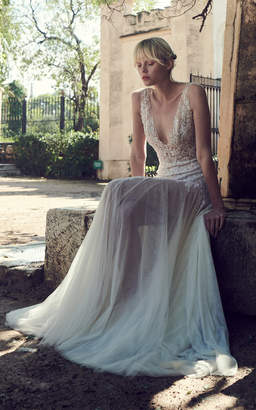 Costarellos Bridal Plunging Neck Beaded Chantilly Lace Dress