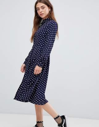Glamorous midi shirt dress with pleated skirt in polka dot print