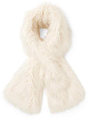 Emma Brewin Faux Fur Scarf - White