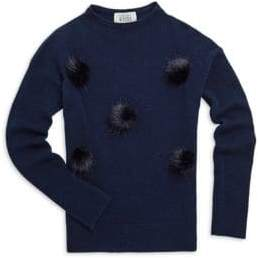 Autumn Cashmere Little Girl's& Girl's Cashmere and Merino Wool Pom Pom Sweater