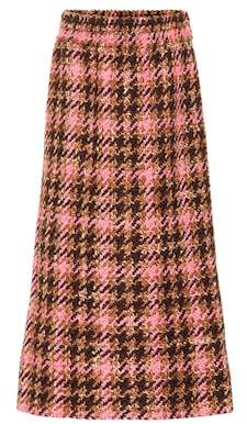 Miu Miu Tweed wool and cotton midi skirt