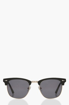 boohoo Square Top Smoke Sunglasses & Case