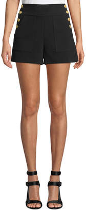 Alice + Olivia Donald High-Waist Side-Button Shorts