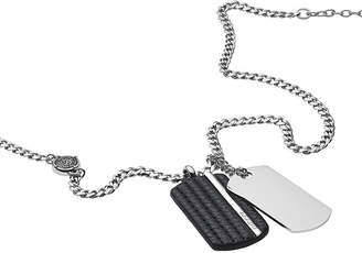 Diesel Men Double Dog Tag Steel and Black Leather Pendant Necklace