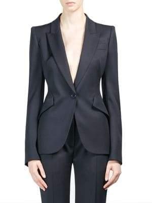 Alexander McQueen Peak Shoulder Single-Button Jacket
