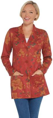 Denim & Co. Studio by Faux Suede Floral Print Jacket