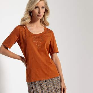 Anne Weyburn Scoop Neck T-Shirt with Embellished Studs