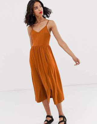 Monki wrap front cami dress in rust