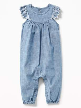 Old Navy Chambray Embroidered Flutter-Sleeve Jumpsuit for Baby