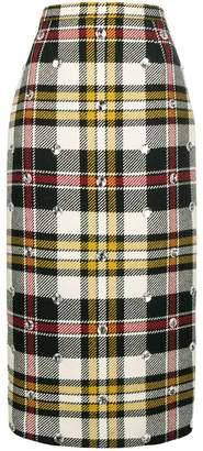 Miu Miu embellished check-print midi skirt